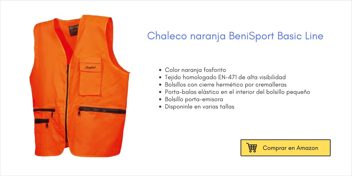 Chaleco de caza naranja BeniSport | Cuaderno de Caza
