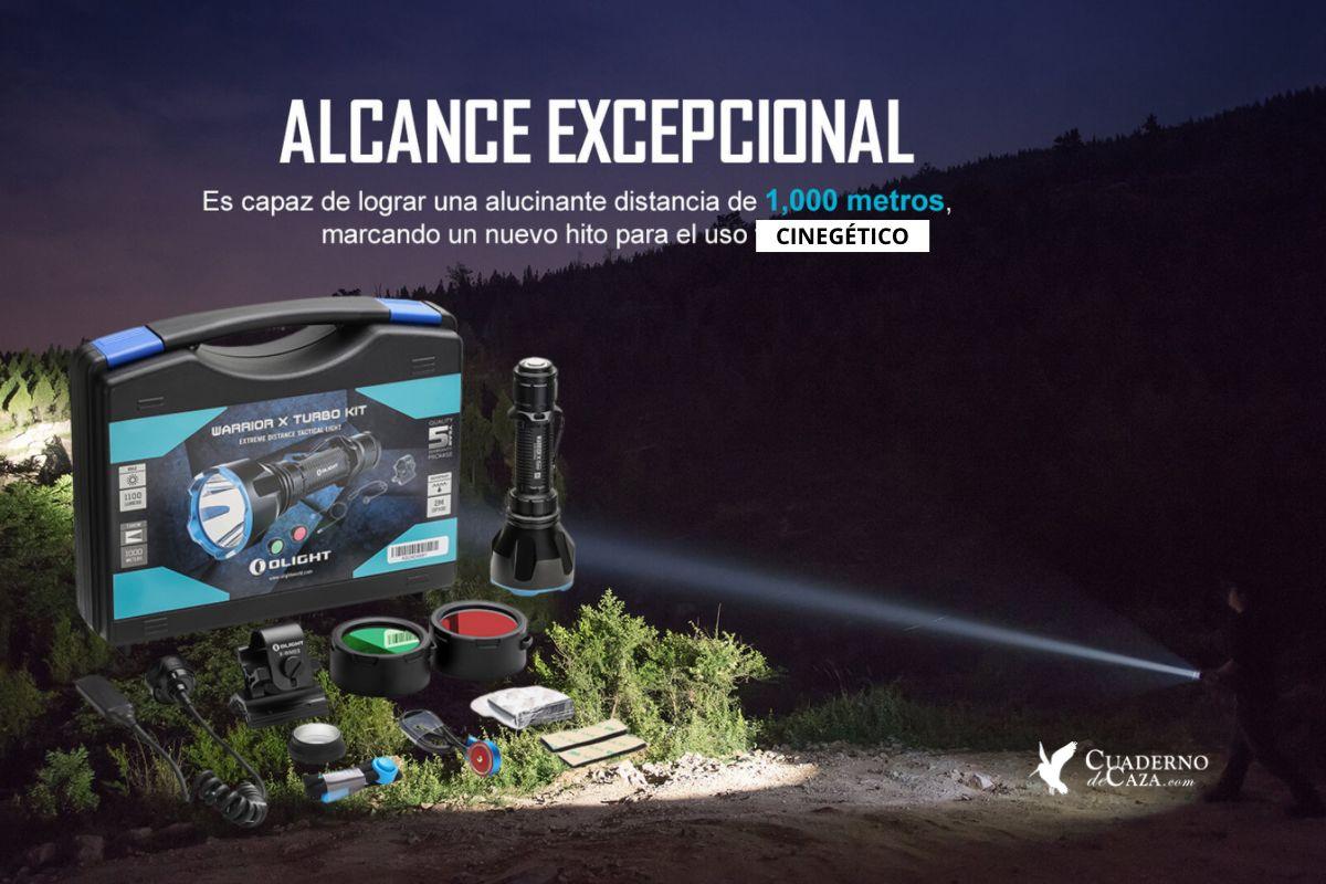 Linterna de caza para esperas de jabalí   Olight Warrior X Turbo Kit   Cuaderno de Caza